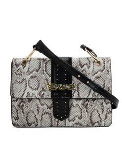 Beige Snakeskin Bag For Women