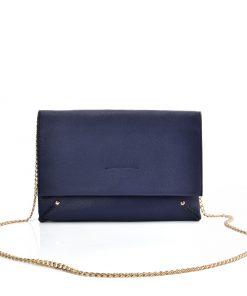 VK2121 BLUE – Simple Solid Color Leather Handbag