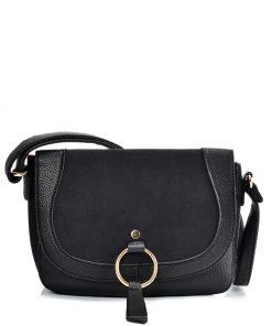 VK2122 BLACK – Simple Solid Color Leather Saddle Bag