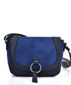 VK2122 BLUE – Simple Solid Color Leather Saddle Bag
