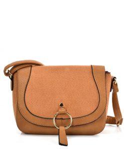 Women Solid Color Leather Saddle Bag