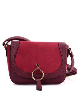 VK2122 PURPLISH RED – Simple Solid Color Leather Saddle Bag