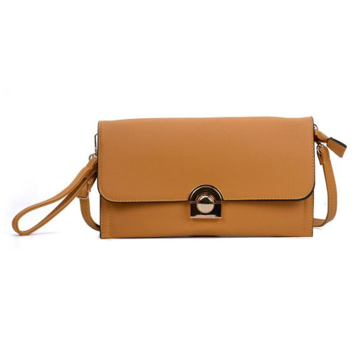VK5306 Yellow – Fashion Women Simple Solid Handbag