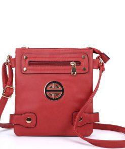Women Red Crossbody Bag With Design