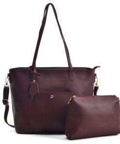 VK5408 Burgundy – Dual-Use Set Handbag With Dome Studs Detail