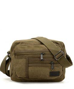 Women Khaki Bag With Multiple Zipper