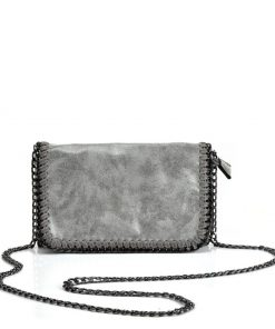 VK5531 GREY – Bright Leather Bag With Chain Handel