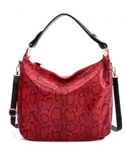 VK5534 RED – Snakeskin Handbag For Women