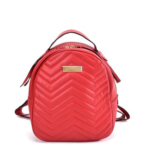VK5535 RED – Solid Color Backpack With Hardware Decoration