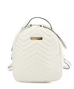 VK5535 WHITE – Solid Color Backpack With Hardware Decoration