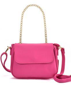 VK5540 FUSHIA – Simple Solid Color Chain Leather Saddle Bag