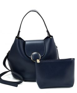 New Blue Leather Set Bag With Flap And Special Handles