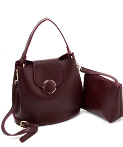 New Purplish Red Leather Set Bag With Flap And Special Handles