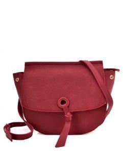 Purplish-red Leather Handbag