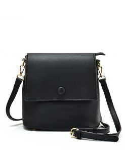 Simple Black Handbag With Flap
