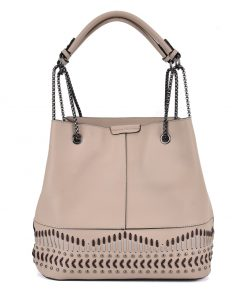 Apricot Color Handbag With Studs And Special Handles