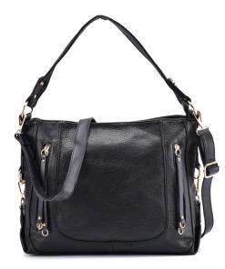 Black Handbag With Symmetrical Zipper Design
