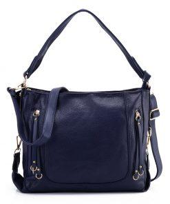 Blue Handbag With Symmetrical Zipper Design