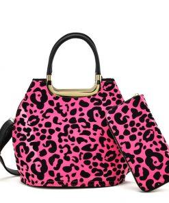 Women Set Bag With Leopard Design