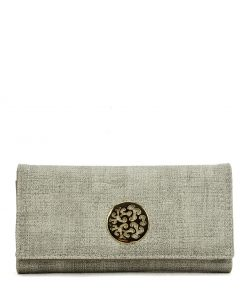 Women Grey Wallet With Decoration