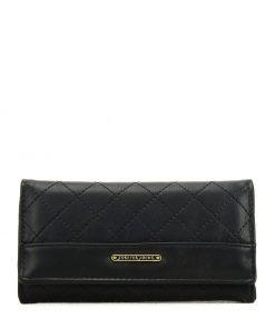 Women Black Lattice Wallet With Design