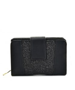 Women Black Wallet With Buckle