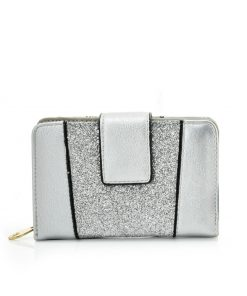 Women Silver Purse With Buckle Design