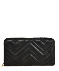 Black corrugated Wallet For Women
