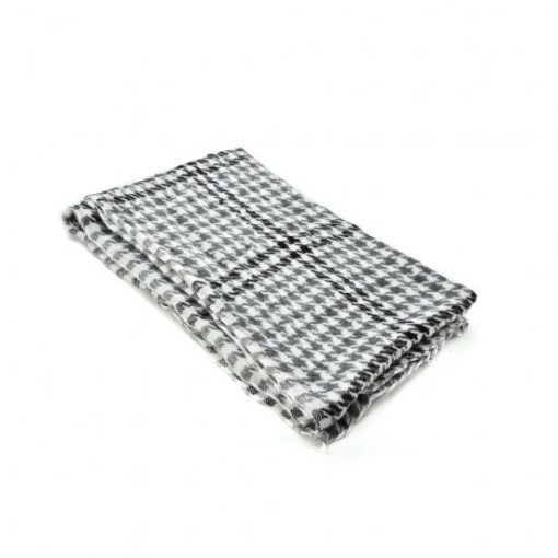 SF1084 White – Classic Houndstooth Print Scarf