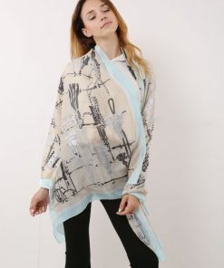 SF1119 Beige – Contrasting Colors Scarf And Shawl With Art Illustrations