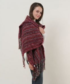 SF1126 Red – Small Lattice Pattern Scarf With Tassel Trims