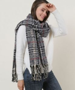 SF1130 Navy – Variegated Color Lattice Pattern Scarf With Tassels