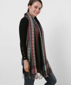 SF1132 Black – Various Pattern Scarf With Colorful Tassels