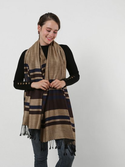 SF1133 Camel – Textured Patchwork Stripe Scarf With Tassels