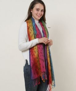 SF1136-3 – Rainbow Color Butterfly Scarf With Tassels