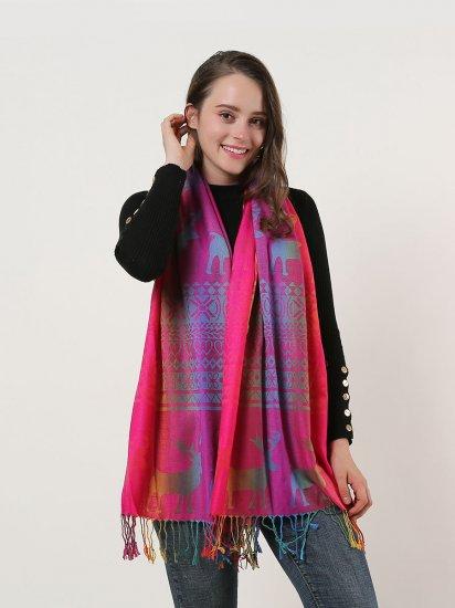 SF1137-1 – Rainbow Color Elk Pattern Scarf With Tassels