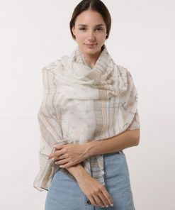 SF1176 Khaki – Anchor & Lines Pattern Scarf For Women