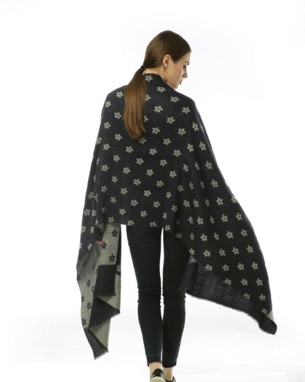 SF966 Black – Oversized Women Floral Scarf