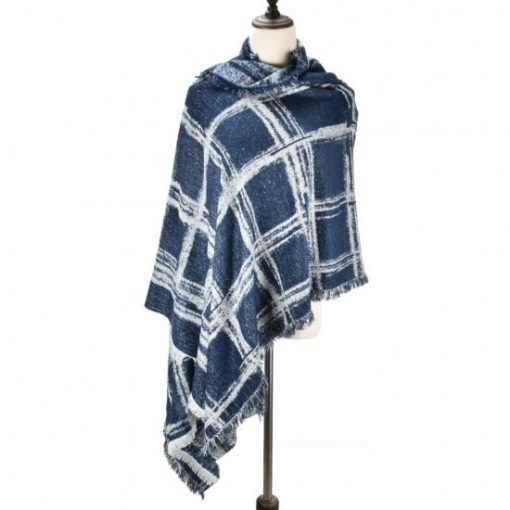 SF969 Navy – Oversize Checked Cape Scarf
