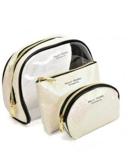SY2184 BEIGE – Transparent Saddle Shaped Set Bags