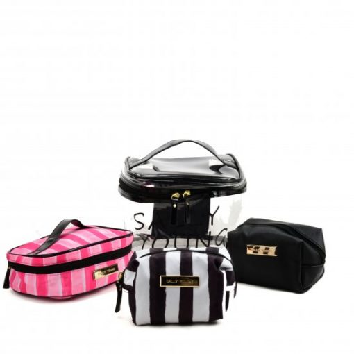 SY2186 BLACK – Transparent Large Medium And Small Four Pieces Set Bags