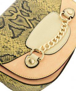 Beige Leather Saddle Bag