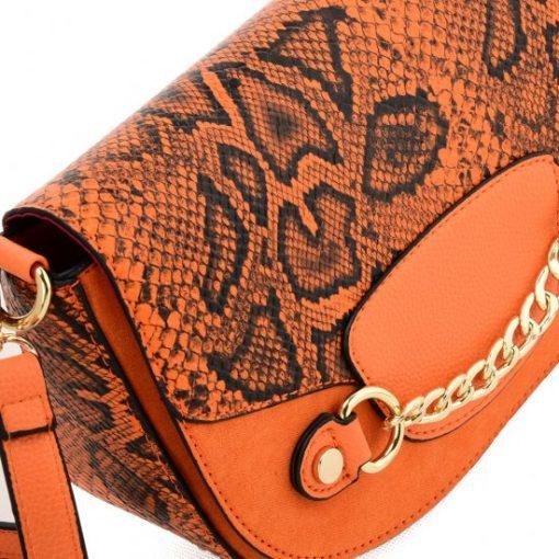Orange Leather Saddle Bag