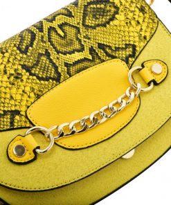 Yellow Leather Saddle Bag