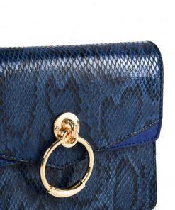 Women Snakeskin Bag With Ring Design