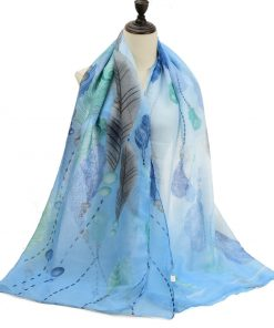 SF1190 BLUE – Feather Pattern Scarf For Women
