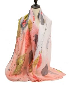 SF1190 PINK – Feather Pattern Scarf For Women