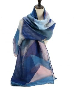 SF1191 BLUE – Contrasting Colors Ink Drawing Pattern Scarf For Women