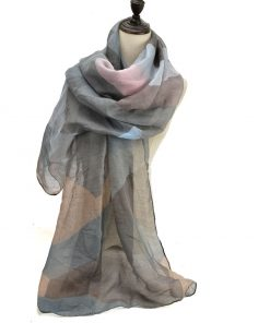 SF1191 GREY – Contrasting Colors Ink Drawing Pattern Scarf For Women