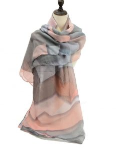 SF1191 PINK – Contrasting Colors Ink Drawing Pattern Scarf For Women